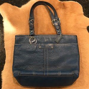 Coach Blue Pebbled Leather Bag
